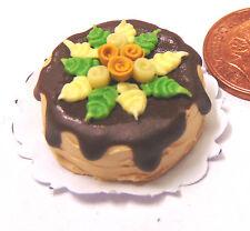 1:12 scala torta rotondo con glassa cioccolato & Flowers bambole Casa In Miniatura HQ