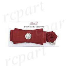 Homme Microfibre Broche Nœud Papillon & Fleur Épinglette Set Rouge Solide