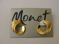 Vintage NOS MONET Gold Tone Swirl Post Stud Earrings