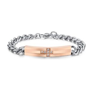 Women'S Fashion Silver Zircon Rose Gold Cross Chain Bracelet Birthday Jewelry