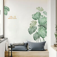 FP- BL_ 2Pcs Tropical Plant Leaves Wall Sticker Decal Home TV Background Decor