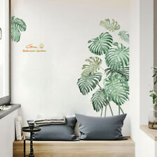 Am_ BL_ 2Pcs Tropical Plant Leaves Wall Sticker Decal Home TV Background Decor