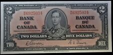 BANK OF CANADA 1937 - $2 BANK NOTE - Prefix W/B - Signed Gordon & Towers - NCC