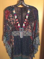 Anna Sui Silk Blend Patchwork Dress New w/ Tags M