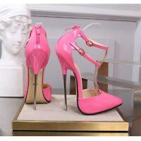 Women High Metal Heels Sandals Patent Leather Stiletto Crossdresser Pumps Shoes