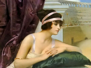 """Dream-art Oil painting Harold Piffard - young beauty girl at the colosseum 36"""""""