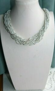 JEWELLERY NICE MULTI STRAND GLASS SEED BEAD NECKLACE, WHITE & SILVER  BEADS 567