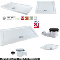 White Stone Resin Rectangle Low Profile Slim Shower Tray 40mm High & 90mm Waste