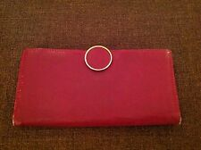 Vintage Red Leather Fiocci Lecca Clutch Checkbook Wallet Snap Button Closure