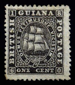 British Guiana. 1862. 1c. Black. SC# 29. SG# 51. Thin Paper. Perf 12 1/2.NGH  XF