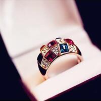Luxux Damen Frauen bunten Strass-Kristallfinger Dazzling Ring U0J2 Schmuck T5S6