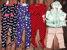 Lot Carters Girls Sleepers Pajamas Clothes Little Me Outfit Fall Winter Size 2T
