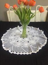 G Hermosa Vintage Algodón Mantel bordado de encaje de ganchillo blanco