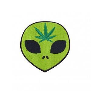 Weed Alien Iron On Patch Retro 90s Space Stoner Psychadelic Applique
