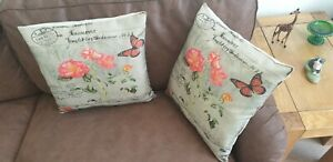 Pack of 2 Cushion Cover 18x18 Inch in Jute Cotton Paris London Statue of Liberty