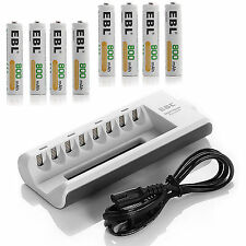 8x 800mAh AAA NIMH Rechargeable Batteries with 8 Channel AA AAA Battery Charger