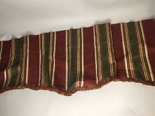 Springs 70 X 16 Striped Valence Set Of 2 Burgandy Green Gold Fringed Curtains