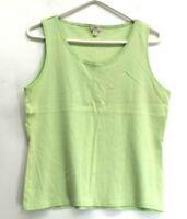 J. Jill Women's Large Stretch Crewneck Ribbed Sleeveless Blouse/Tank Top Green