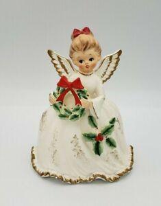 Vintage NAPCO Christmas Angel Holding Wreath Planter Napcoware X-6966 Decor