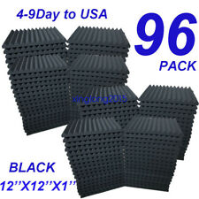 "96 Pack - Acoustic Panels Studio Soundproofing Foam Wedge tiles 1""x12""x12"" USA"