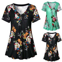 Fashion Women Casual Loose Pleated Short Sleeve V Neck T-Shirt Tunic Tops Blouse