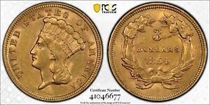 1854 PCGS & CAC AU55 $3 Gold Indian Princess