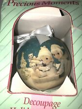 Precious Moments Playing In Snow Decoupage 1994 Christmas Ball Ornament Enesco