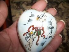 Valentine! vintage Limoges trinket box-old fashioned heart,signed. Exc. Cond.