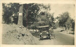 Automobile Man Dog Road Trip C-1915 RPPC Photo Postcard 21-1984