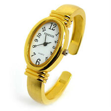 Yellow Gold Tone Oval Face Brushed Finish Band Women's Bangle Cuff Watch