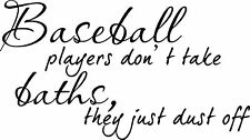Baseball Players Bath Sports Decor vinyl wall decal quote sticker Inspiration