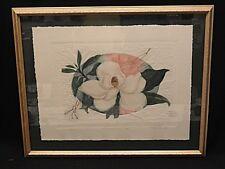 "SIGNED MARY E. DAVIDSON BOTANICAL ETCHING FRAMED ""EMBOSSED CREAM PUFF"" #199/200"