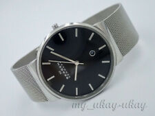 SKAGEN SKW6104 Black Dial All Stainless Steel Mesh Band Men's Date Watch
