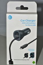 Car Charger with Extra USB Port  AT&T Universal 3.4A Coiled Micro-USB- Black