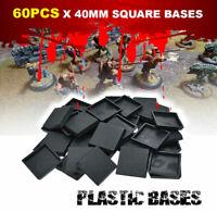 [60PCS 40mm] Square Bases Plastic for Miniatures War Games Warhammer Model