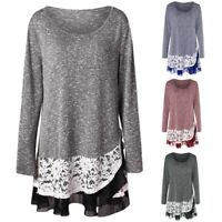 Womens Blouse Solid Long Sleeve Plus Size Lace Insert Layered Hem O-Neck Tops US