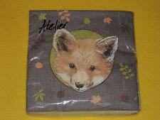 20 Servietten  Fuchs Füchse FOXES 1/4 Tiere Kopf HERBSTLICH 1 Packung