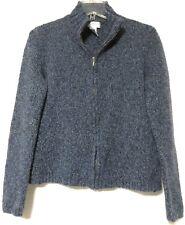 Jones New York Sport Womens Blue Knit Zipper Wool Blend Sweater Size Small