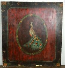 XIX ° Th Antique Panel Decoration Wall Wooden Painted Pattern Peacock