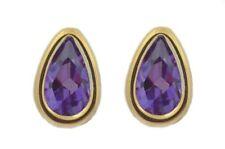 14Kt Yellow Gold Alexandrite 7x5mm Pear Shape Bezel Stud Earrings