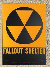 "1950's CIVIL DEFENSE METAL FALLOUT SHELTER SIGN 10"" x 14"""