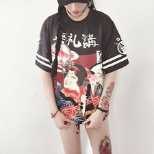 Plus Size Women Genki Japanese Pumk T-shirt Student Teenager Harajuku Letter Top