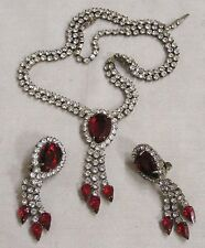 Vintage Jewelry Necklace Earrings Demi Parure Blood Red Clear Rhinestone Dangles
