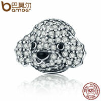 Bamoer Classic s925 Sterling Silver Charm With Clear CZ cute Dog For Bracelets
