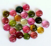 100% Natural 6 mm Multi Color Tourmaline Round Cabochon Loose Gemstone