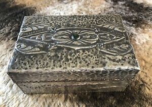 Arts And Crafts Inlaid pewter box / Cabochon Inlaid Hammered Pewter box c1900