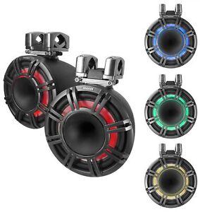 """Pair KICKER KMTC9 HLCD 9"""" 600w Horn-Loaded LED Wakeboard Tower Speakers 44KMTC94"""