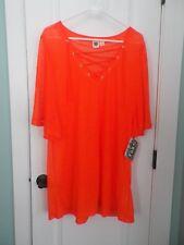 Roxy NWT Womens Swimsuit Tied V-neck Coverup (Paradise Dream) Sheer Orange Large