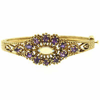 Vintage 14K Yellow Gold 3.75ctw Amethyst & Opal Textured Open Bangle Bracelet