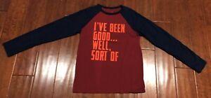 Gap Kids Holiday Christmas T-Shirt Maroon Red Blue Orange Boys Size XL (12) EUC